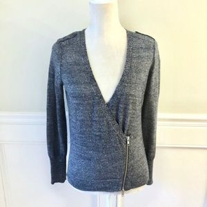 J. CREW Marled Knit Asymmetric Moto Zip Sweater XS